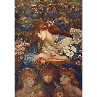 The Blessed Damozel 1872 Great Pictures in Private Galleries 1905 Poster Print by  Dante Gabriel Rossetti