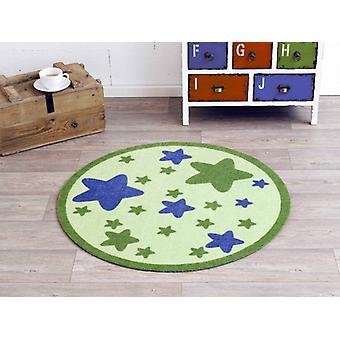 Velour kids carpet Star Green around 100 cm | 101945