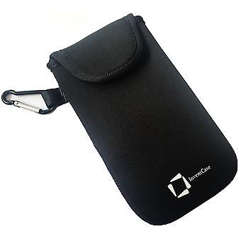 ベルクロの閉鎖と huawei 社 Y5II - ブラックのアルミ製カラビナと InventCase ネオプレン耐衝撃保護ポーチ ケース カバー バッグ