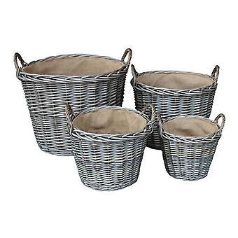Set di 4 Wash antico finitura vimini foderato Log cesti