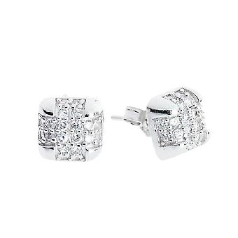 Sterling 925 Silver earrings - BOX 8 mm MICRO PAVE