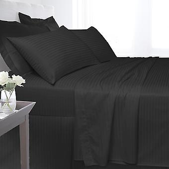 Egyptian Cotton Satin Stripe 250 Thread Count Duvet Cover Bedding Set