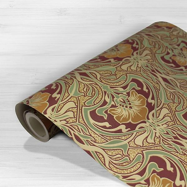 Retro Damask Floral Wallpaper Vintage Flora Nouveau Metallic Gold Green Red
