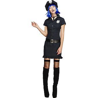 ドレスの女性セクシーな警察警官コスチュームを警官します。
