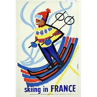 Skiing In France Poster Print Giclee