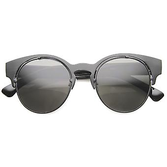 Mens Metal Semi-Rimless Sunglasses With UV400 Protected Composite Lens