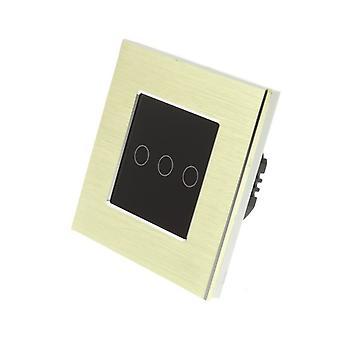 Yo LumoS oro cepillado interruptor aluminio 3 cuadrilla 1 modo remoto táctil LED luz negro