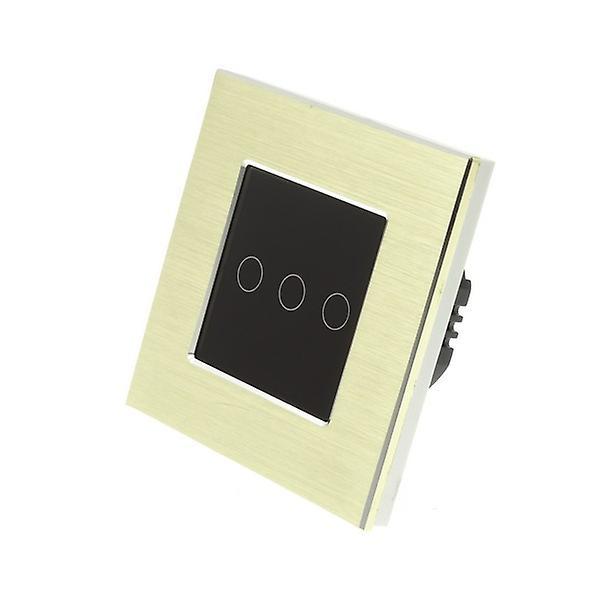 J'ai LumoS or brossé Aluminium 3 Gang 1 manière Remote Touch LED Light Switch Insert noir