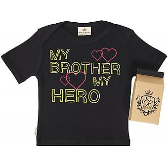 Spoilt Rotten My Bro My Hero Babys T-Shirt 100% Organic In Milk Carton