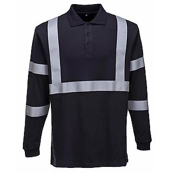 Portwest - Flame Resistant Anti-Static Long Sleeve Polo Shirt -Reflective Tape