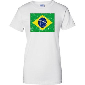 Brazil Distressed Grunge Effect Flag Design - Ladies T Shirt