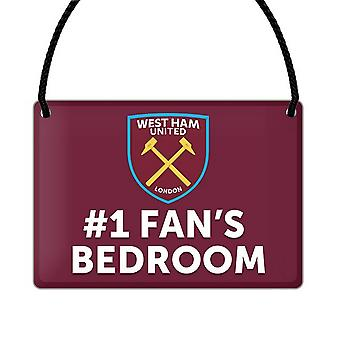 West Ham United FC Official Number 1 Fan Football Crest Bedroom Sign