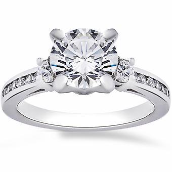 2 1/4 ct rund förbättrade diamant förlovningsring 14K vitguld