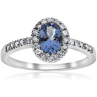 Oval Tanzanite Halo Diamond Ring 10K White Gold