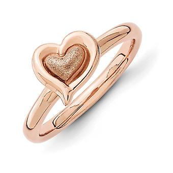 2.25mm Sterling Silver Stackable Expressions Pink-plated Heart Ring - Ring Size: 5 to 10
