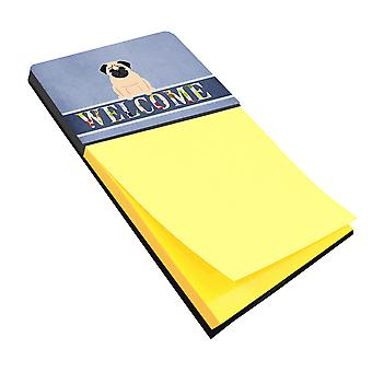 Carolines Treasures  BB5589SN Pug Fawn Welcome Sticky Note Holder