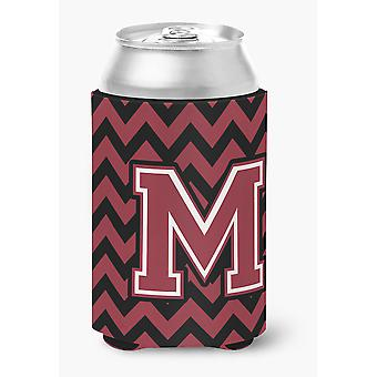 Letter M Chevron Garnet and Black  Can or Bottle Hugger