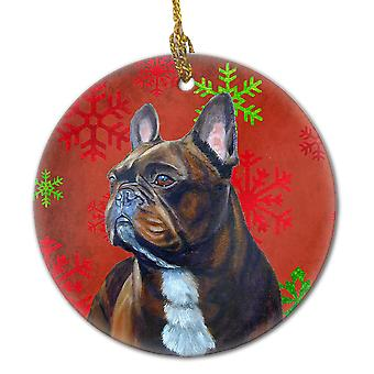 French Bulldog Red Snowflake Holiday Christmas Ceramic Ornament LH9340