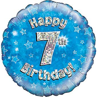 Oaktree 18 Inch Happy 7th Birthday Blue Holographic Balloon