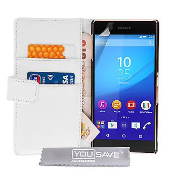 Sony Xperia Z3 плюс кожа эффект бумажник чехол - белый
