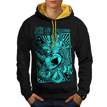 Gambling Card Gamble Men Black (Gold Hood)Contrast Hoodie | Wellcoda