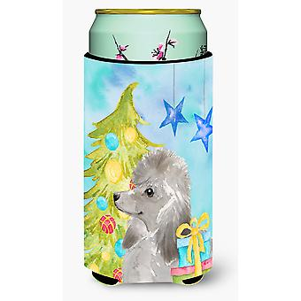 Grey Standard Poodle Christmas Tall Boy Beverage Insulator Hugger