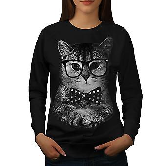 Hippie kat mand sjov kvinder BlackSweatshirt | Wellcoda