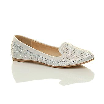 Ajvani kvinners flat diamante bryllup prom brude kvelden ballerina pumper dolly sko
