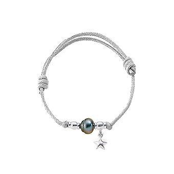 Regulowana bransoletka, Tahitian perła, srebro 925/1000 gwiazda kobieta i bawełny wosk biały