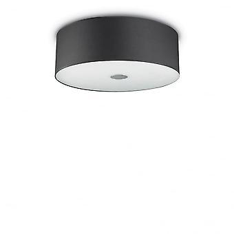 Ideal Lux Woody 50cm Decke bündig schwarz Drum Zylinder Schatten Licht