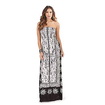 Pistachio, Ladies Bandeau Strapless Tropical Floral Maxi Dress, Black and White, Small (UK 8-10)