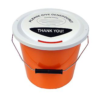 Charity Money Collection Bucket 5 Litres - Orange