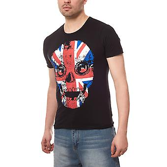 RUSTY NEAL British skull men's T-Shirt black flag
