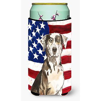Patriotic USA Catahoula Leopard Dog Tall Boy Beverage Insulator Hugger