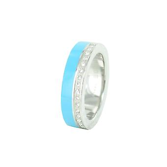 ESPRIT women's ring stainless steel Marin 68 glam silver / light blue ESRG11565E