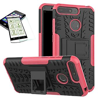 For Huawei Y6 2018 hybrid case 2 piece SWL pink + tempered glass bag case cover sleeve