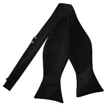Black Plain Satin Self-Tie Bow Tie