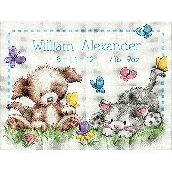 Pet Friends Birth Record Counted Cross Stitch Kit-12