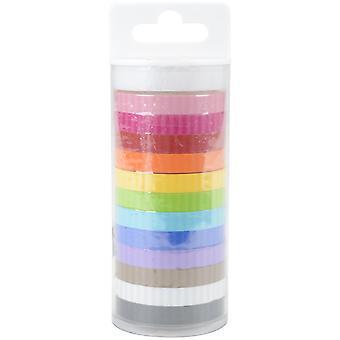 Doodlebug Monochromatic Washi Tape 8mmx12yds 12/Pkg-Stripe