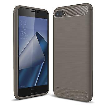 ASUS Zenfone 4 Max ZC554KL TPU case carbon fiber optics brushed protection cover grey