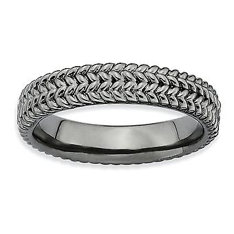 Sterling Silver Textured Polished Patterned Ruthenium plating Stackable Expressions Black-plated Ring - Ring Size: 5 to