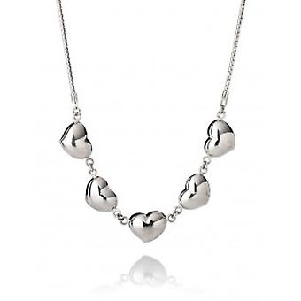 Cavendish francés lleno de corazones plata collar