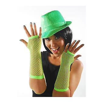 Gloves  Fishnet gloves bright green
