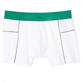 Lacoste Motion Micro Mesh Stretch Boxer Trunk, White/Green, Small