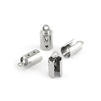 Pakke 20 x sølv 304 rustfritt stål rør slutten Caps 5 x 10.5mm Y01000