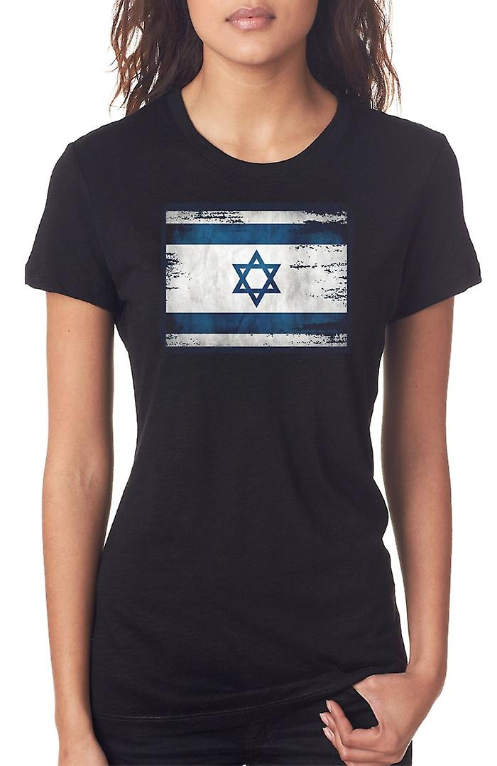 Isreali Isreal Grunge Flag Ladies T Shirt