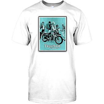 Triumph Retro Motorbike Poster Mens T Shirt