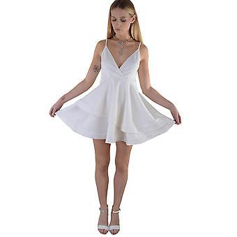 Lovemystyle Scuba weiße Skater-Kleid mit Sprung-Ausschnitt