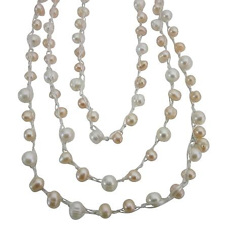 Freshwater Pearls Long Necklace 68 Inches White Peach Freshwater Pearl
