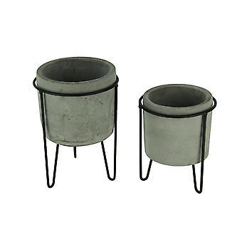 Soportes de macetas de cemento moderno en Metal negro juego de 2